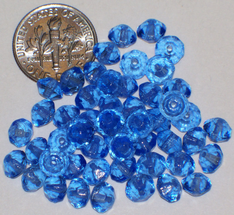 Vintage Blue Glass / Crystal 6mm Beads Western Germany