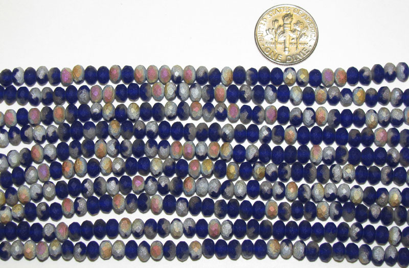 Czech Glass Matte Cobalt Marea Faceted Rondelles