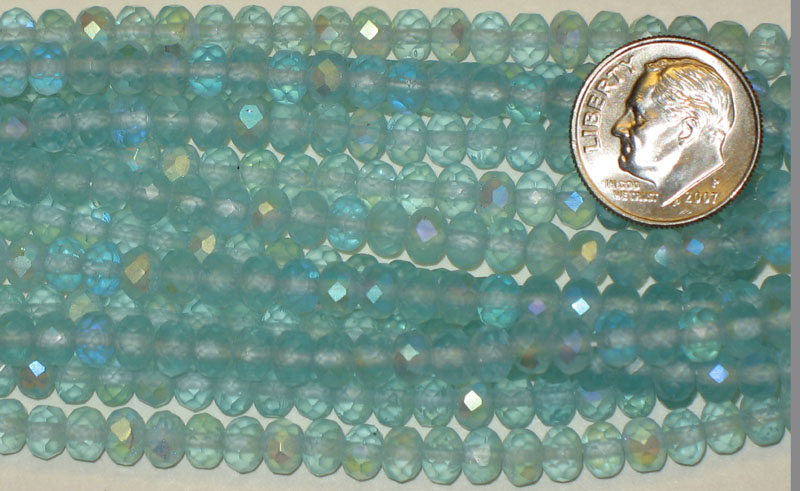 New Strand of Faceted Glass Beads - Light Blue Frosted AB Ovals