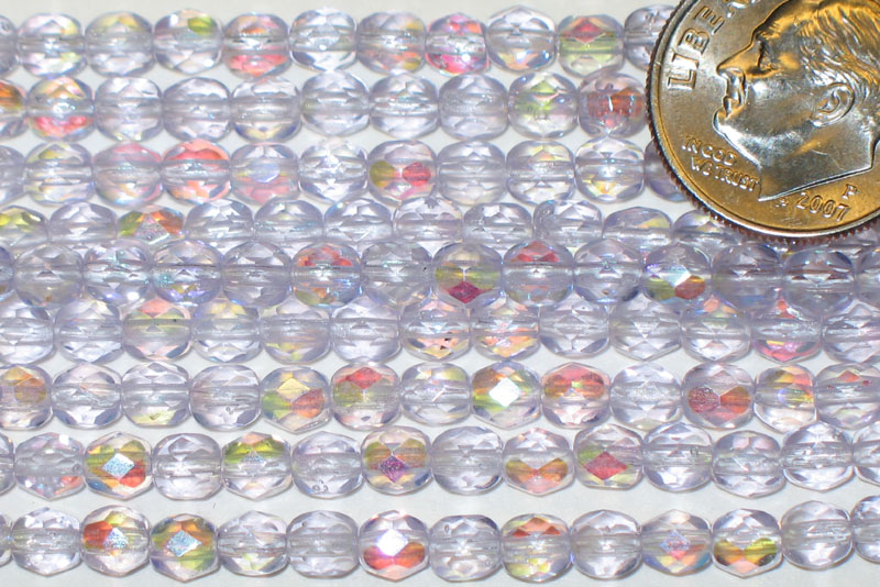 New Strand of Faceted Glass Beads - Light Purple Blue AB Ovals