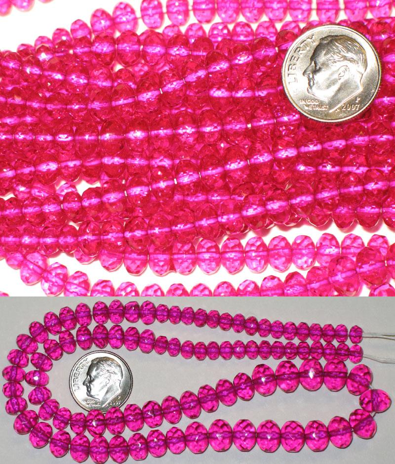 New Strand of Faceted Glass Beads - Pink Graduated Rondelles