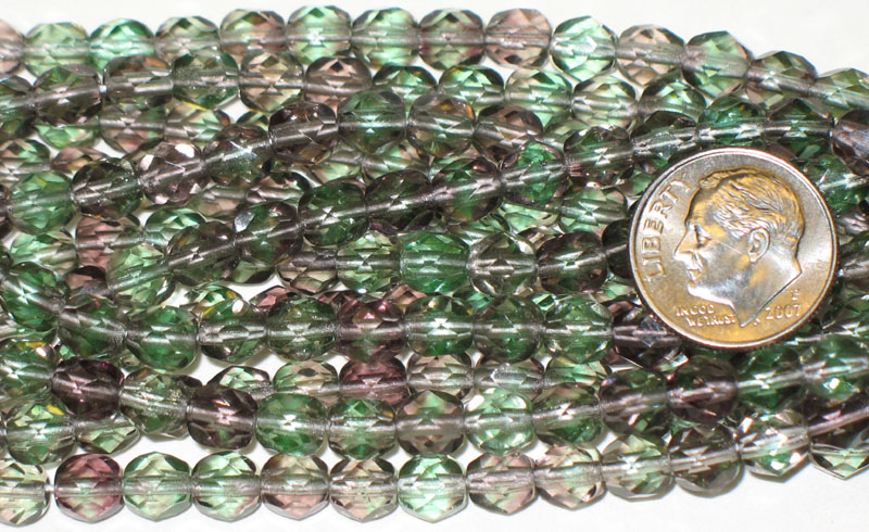 New Strand of Faceted Glass Beads - Purple / Green Rounds