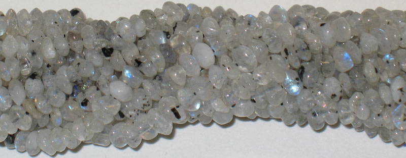 "Beautiful 14"" strand of Blue / Rainbow Moonstone Beads"