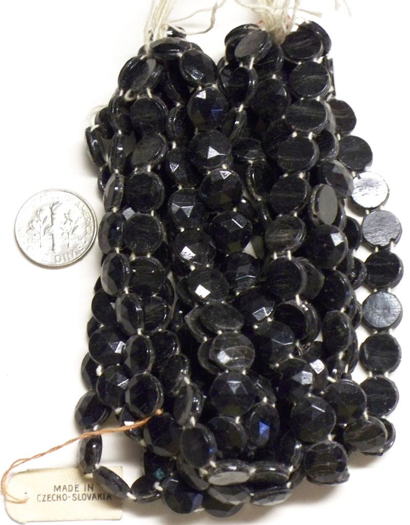 Vintage Black Round Nailheads, two holes, 8.7mm - 9.0mm
