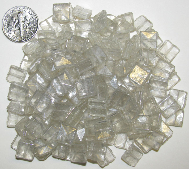 Vintage Clear Nailheads 8.5mm, 60 grams, Square