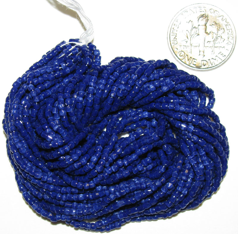New Blue Multi Faceted 9/0 Seed Beads, hank