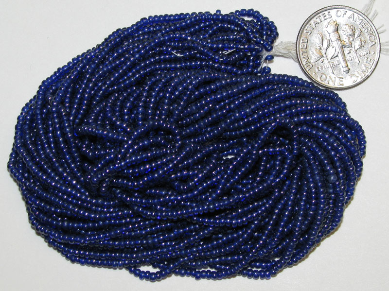 Vintage Hank of Shiny Blue Seed Beads 12/0