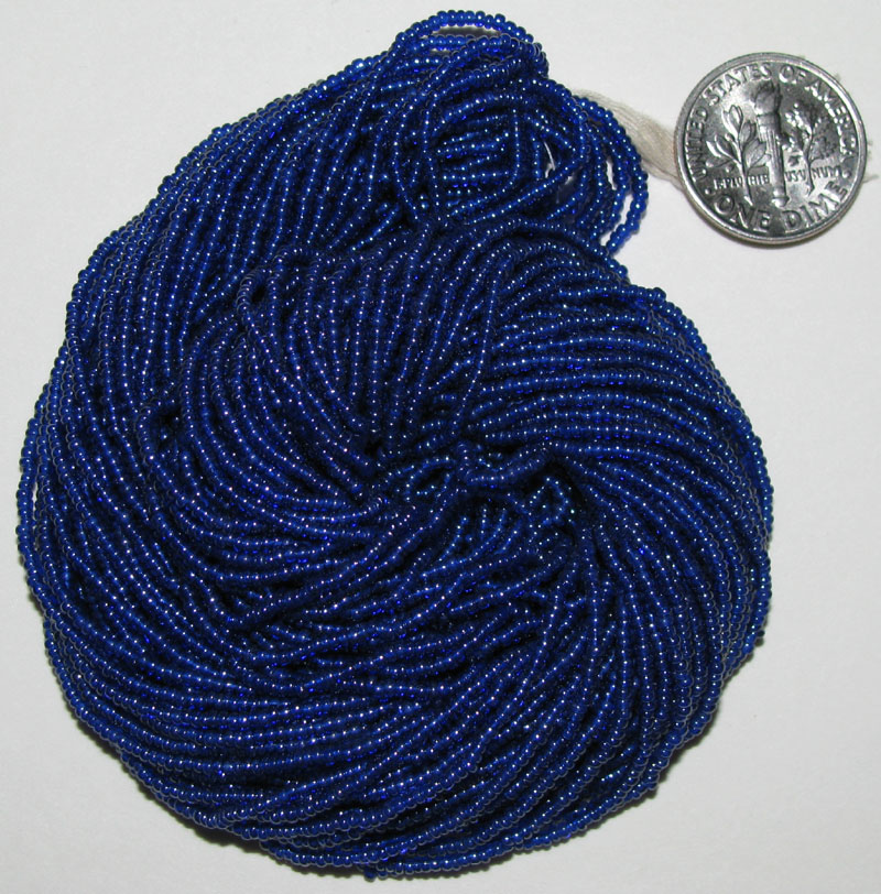Vintage Hank of Shiny Blue Seed Beads 15/0