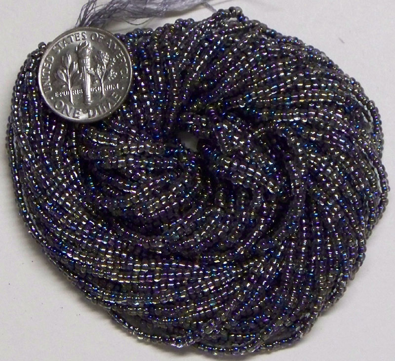 New Translucent Carnival lined mix, 10/0 seed beads, hank