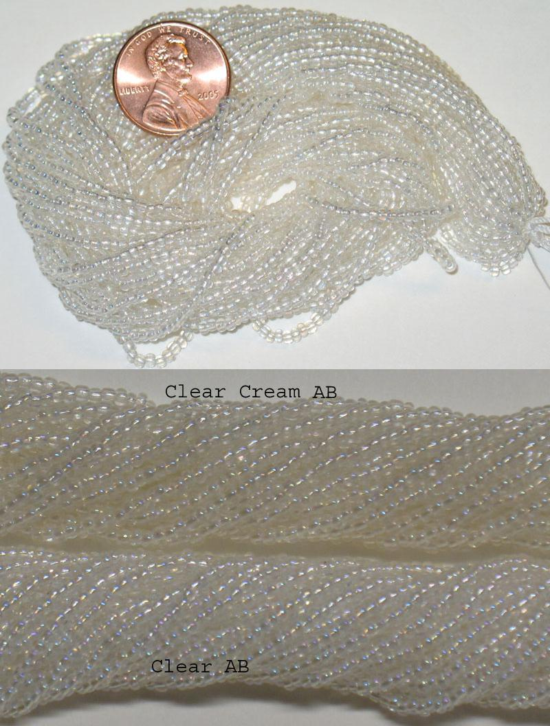 New Clear Cream AB 9/0 seed beads, hank