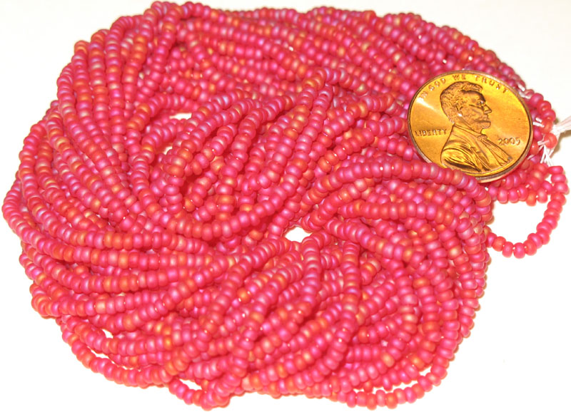 New Frosted Red Mix 10/0 seed beads, hank