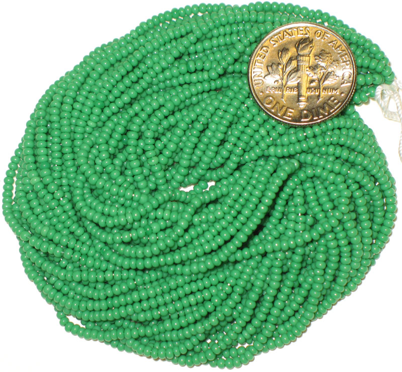 New Kelly Green 11/0 Seed Beads, hank