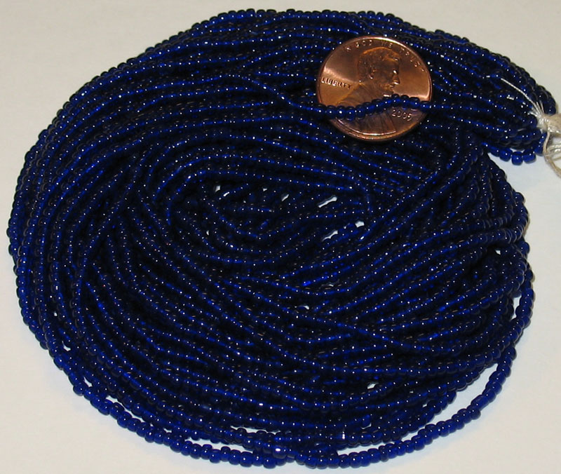 Vintage Dark Blue Translucent 8/0 seed beads, hank