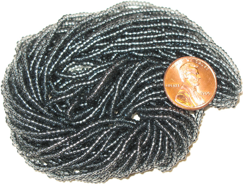 New Translucent Grey 10/0 seed beads, hank